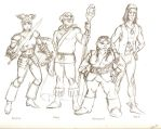 Paladin, Mage, Engineer and Thief, pencil sketch by The-Savage-Ape-Man