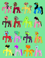 OPEN!! -(13 LEFT!)-  Huge Adoptable Pony Set by 77SAR77
