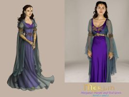BBC's Merlin-Morgana's Purple and Teal Gown by nickelbackloverxoxox