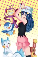 Dawn-Hikari and pokemon by DaniielaHaruno
