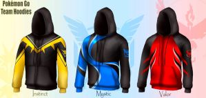 Pokemon Go Team Hoodies by Cosmic-Chameleon