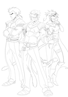 Saiyan Generals lineart by Conscentia