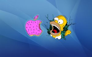 Homer Simpson Apple Donut Wallpaper by LindsayCookie