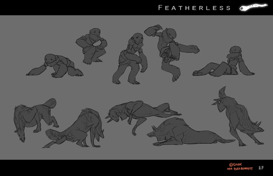 Featherless: Saagon and Atukybo movement sketches by Sarspax