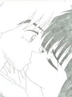 Kikyo and Inuyasha Kissing by animequeen05