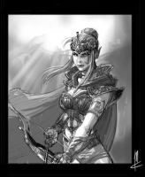 elf conceptfemale elf with bow by TheBeke