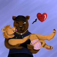 Bear and Lion Love by Redd-wulf