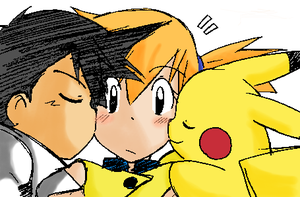 Ash, Misty and Pikachu Kisses by KasumiKetchum
