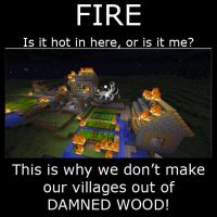 Minecraft fire demotivational by Drohung-DragonNinja