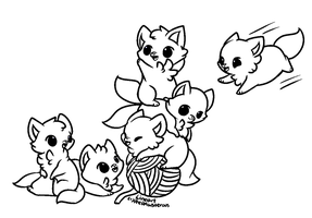 :Free Use Playful Kittens Lineart: by PrePAWSterous