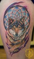 Wolf Dreamcatcher Tattoo done by Sean Ambrose by seanspoison