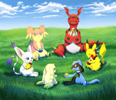 Pokemon and Digimon - Let's be Friends by snuddi