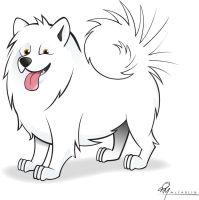 Samoyed Cartoon Caricature by timmcfarlin