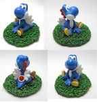 Super Mario- Blue Yoshi commission by Tsurera