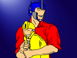 Optimus Prime and Bumblebee: A hug by celtakerthebest