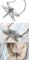 Copper Dragonfly Pendant by random-soul