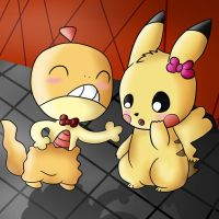 Collab: Scraggy x Pikachu by tinttiyo