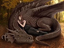 Queen and her dragon by TenebrisArt