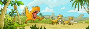 T-Rex vs Raptors by MathieuBeaulieu