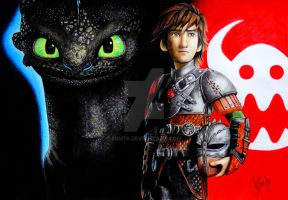 How to train your dragon, Hiccup and Toothless by Mim78