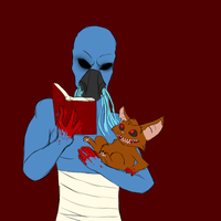 Mrcreepypasta reads to a fluffy friend by King-Candy