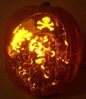 Curly Beard Skull Pirate by pumpkinsbylisa