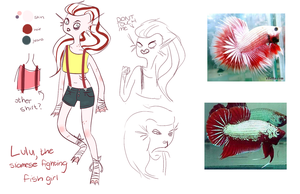 Lulu the Siamese Fighting Fish Girl by AskAideen