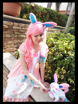 (Pokemon) Sylveon with her Best Friend! Cosplay by KrazyKari