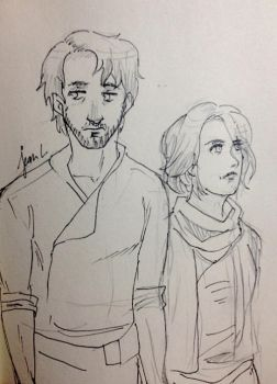 Star Wars: Cassian and Jyn by WithSkechers