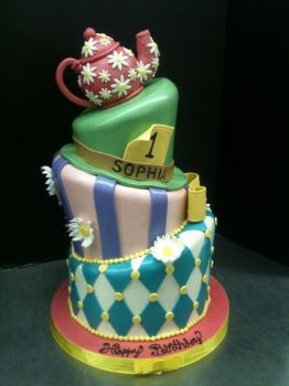 Topsy Turvy Mad Hatter Tea Party Cake by Spudnuts