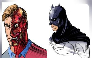 Two Face - Batman sketches by NoBullet