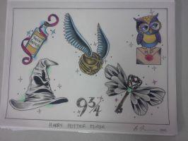 harry potter tattoo flash by blue-lemonade2385