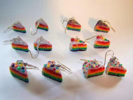Rainbow Cake Earrings by ByToothAndClaw