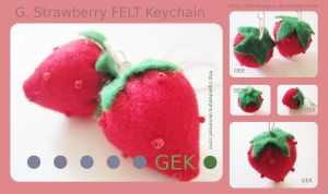 G. Strawberry FELT Keychain by GEKdesigns