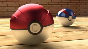 Pokeball and Great Ball (Blender) by FinnAkira