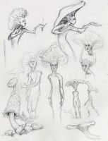 mushroom ppl sketches by Shalladdrin