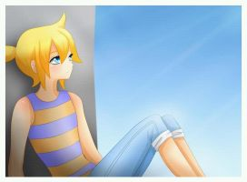 Len Kagamine - Sitting under the sun by LadyGalatee
