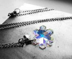 Swarovski AB Snowflake Wire Wrapped Necklace by crystaland