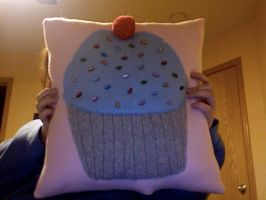 Blue Cupcake Pillow by esillmonday