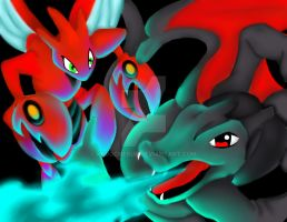 Scizor VS Charizard by kurocherub