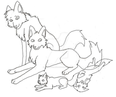 Wolf Family Lineart by Addictivemind