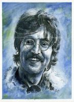John Lennon / The Beatles - Watercolor and Ink by NateMichaels