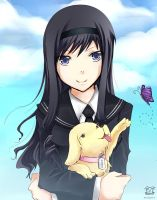 Amagami: Haruka and a puppy by rairy