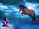 Fairy and horse over water by liv-ish-awesome
