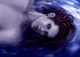 Aidyn laying in water by MSilenceART