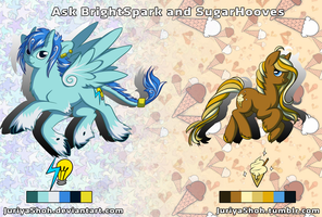 BrightSpark and SugarHooves OC Ref Sheet by JuriyaShoh