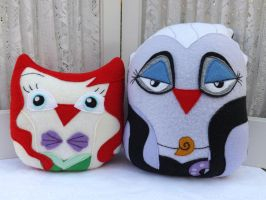 Owl Plushies The Little Mermaid Ariel and Ursula by sylvialovespink