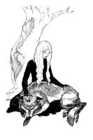 The Wolf and Death by portablecity