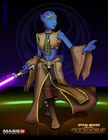 Crossover- Asari Jedi by creativebudah
