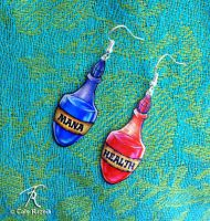 Health And Mana Potion Earrings by TrollGirl